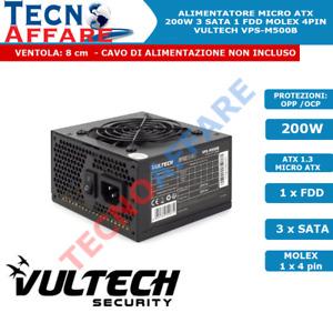 Alimentatore Micro ATX 200 Watt per PC 3SATA 4PIN 1FDD Ventola 8cm Vultech