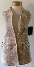 NWT Guess Womens Faux Snake Tux Vest XS Milk Snake Foil MSRP$148