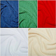 """Cotton Terry Towelling Fabric Plain Solid 5 Colours Material 59""""/150cm wide"""