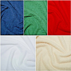 Cotton or Bamboo Terry Towelling Fabric Plain Solid 10 Colours Material