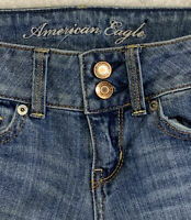 American Eagle Stretch Artist Jeans Size 00 Double Button Regular Some Distress