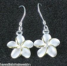 12mm Hawaiian 2-Tone Sterling Silver 14k Yellow Gold Plumeria Hook Earrings