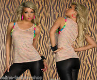 Sexy Stricktop Melange-Muster Top Longtop Shirt mit Arm-Ketten 34 36 38