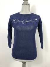 LC Lauren Conrad Blue Purple Crochet Knit Floral Embroidered 3/4 Sleeve Sweater