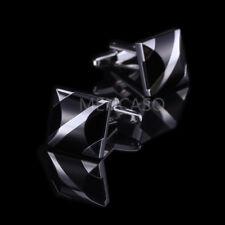 Xmas Gift Men's Black &Silver Diamond Square Cufflinks-Wedding Party Business