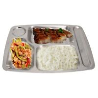 4/5/6 Section Divided Dinner Tray Lunch Container Food Plate Stainless Steel NEW
