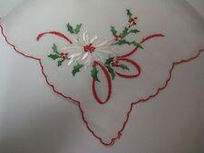 Vintage Hankie EMBROIDERED WHITE POINSETTIAS Handkerchief CHRISTMAS Red Scallop