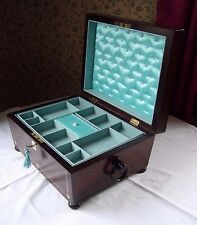 ANTIQUE JEWELLERY BOX VICTORIAN / GEORGIAN ROSEWOOD & MOTHER OF PEARL INLAID