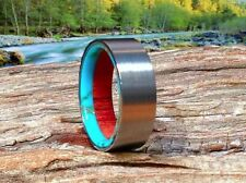 Mens Wedding Band, Titanium Wood Ring, Turquoise Ring, Handmade, Waterproof