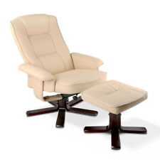 PU Leather Wood Armchair Recliner Beige