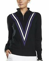G/FORE NWT Women's L Double-V Wool Cashmere Golf Onyx 1/4 Zip Pullover Sweater