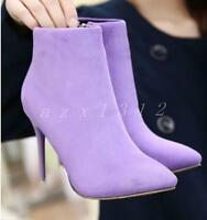 Ladies Womens Ankle Boots Pointed Toe Zip Shoes Stilettos High Heels Faux Suede