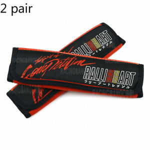 2 Pair Ralliart Red Suede Fabric Seat Belt Cover Embroidery Logo Shoulder Pads