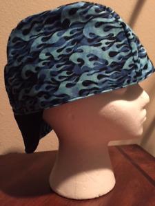 WELDING CAP, REVERSIBLE,LITE BLUE FLAMES SIZE 7 1/4