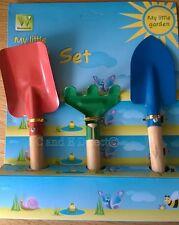 Kids Childrens 3 Piece Garden Hand Tools Gardening Tool Set Fork Rake Trowel NEW