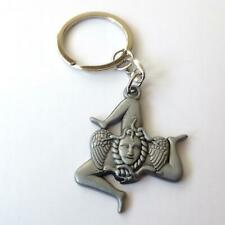 Key Chains, Stainless steel  polished and Gray - TRINACRIA -  302 BB