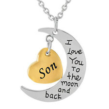 IJD9468 Moom and Heart Son Stainless Steel Cremation Urn Pendant Necklace