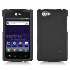 For LG Optimus M+ MS695 Rubberized HARD Protector Case Phone Cover Black