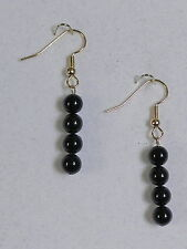 "EARRINGS - 6MM BLACK ONYX BEADS - 1 3/4"" - GOLD PLATED HYPOALLERGENIC HOOKS"