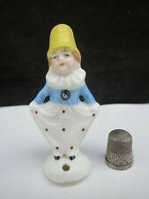 Art Deco Full Figure Sitzendorfer Clown Pin Cushion Half Doll Thimble Holder