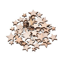 100x Wooden Mini Mixed Wood Stars Craft Cardmaking Scrapbooking Embellishment ^