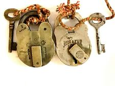 Vintage brass pad locks with key from india lot of two