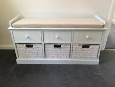 White Cream Storage Bench Window Seat Shoe Storage Unit Drawers Hallway Furnitur