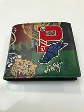 NWT Polo Ralph Lauren Bi-Fold Leather Wallet Red P Logo Wing Tiger  MSRP $150