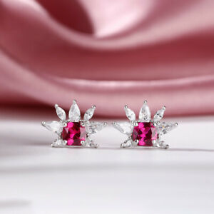 2.80Ct Cushion Cut Red Ruby Flower Stud Earrings 14k White Gold Finish