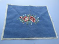 "Vintage Blue Wool Floral Needlepoint Canvas Complete/Finished 18"" x 14"""