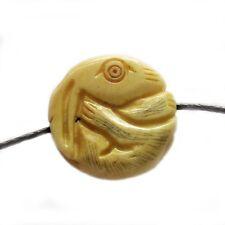Tibet Bone Happy Lucky Chinese Zodiac Rabbit Amulet Pendant Bead Double Faces