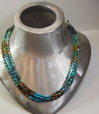 JAY KING DTR STERLING SILVER 925  NATURAL TURQUOISE BEADS 4 STRAND  NECKLACE