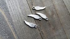 10 Angel Wing Charms Shiny Silver 2 Sided Tiny Angel Wings 17mm