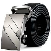 Luxury Men's Alloy Automatic Buckle Waistband Genuine Leather Belt Waist Strap