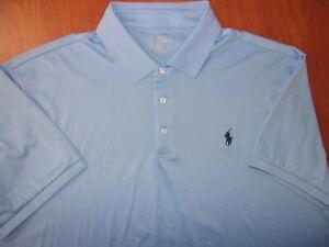 Polo Ralph Lauren Performance Stretch Light Blue Casual Golf Polo Shirt XL ~NEW~