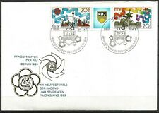 Germany (East) DDR GDR 1989 FDC Youth and Students' Festival Pyongyang se-tenant