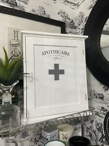 French Apothecary Bathroom Wall Cabinet Cupboard White Shabby Chic New