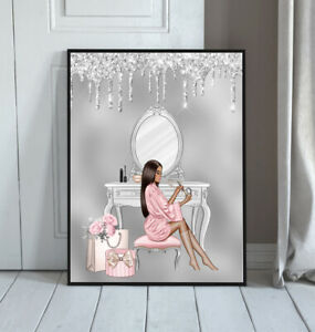 Glam Wall Art Fashion Print Glitter Silver Grey Pink Makeup Picture Bedroom A4 2