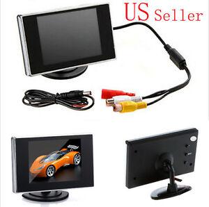 "3.5"" TFT HD LCD Color Screen Car Rearview Monitor Backup Reverse Camera DVD VCR"