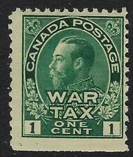 Scott MR1: 1c Green King George V Admiral Canada War Tax stamp, F-NH