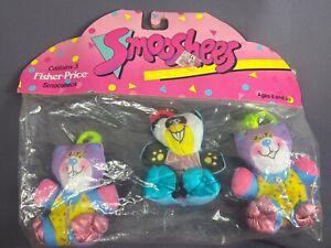 Fisher-Price Vintage 3 Smooshees 2 Purple Bears 1 Raccoon Sealed In Pack 1987