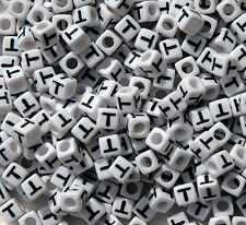 Letter T - 100pc 7mm Alphabet Beads White with Glossy Black Letters