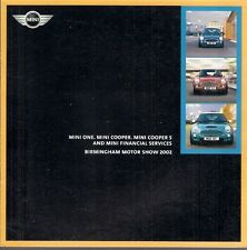 Mini Hatchback Specification Motorshow 2002 UK Market Brochure One Cooper S