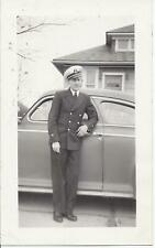 #925P Vintage Photo Young Man Looks Very Sharp in Uniform Anchor on Hat Military