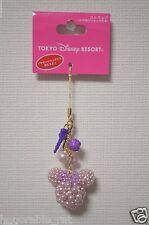 Tokyo Disney Resort Minnie Bead Strap with Mickey Shaped Ear Phone Jack Purple