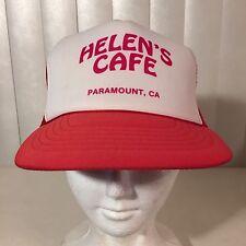 Vtg 1980s NEW Helens Cafe Paramount CA Trucker Hat Cap Mesh Snapback Never Worn