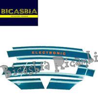 0115 - KIT TARGHETTE ADESIVI BLU ELECTRONIC PER COFANI MOTORE VESPA 125 ET3