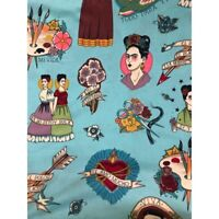 Made with Alexander Henry fabric /'Catrina Chiquita/' Fully lined in Liberty of London fabric  Size M Frida Kahlo purse