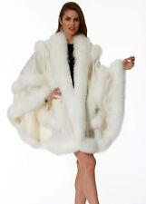 Winter White Cashmere Cape Shawl with Fox Fur Trim Empress Style
