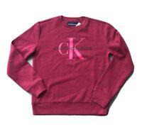 Calvin Klein Women's Monogram Logo Crewneck Sweatshirt , Burgundy, X-Small